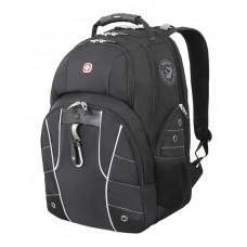 """Рюкзак WENGER, 15"""", черный/серебристый, полиэстер 900D/600D/искуственная кожа, 34x18x47 см, 29 л"""