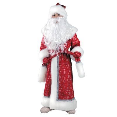 Детский костюм Дед Мороз плюш красный