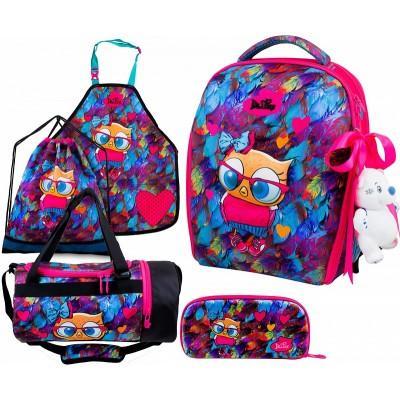 Ранец DeLune Full-set 7mini-015 + мешок + жесткий пенал + спортивная сумка + фартук для труда + мишка