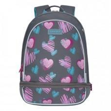 Рюкзак школьный Grizzly RG-169-2 Сердечки Серый