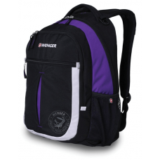 Рюкзак WENGER, чёрный/фиолетовый/серебристый 32х15х45 см, 22 л