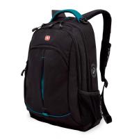 Рюкзак WENGER, черный/бирюзовый, фьюжн/2 мм рипстоп, 32x15x46 см, 22 л