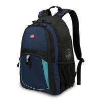 Рюкзак WENGER 15'' синий/черный/бирюзовый 33x15x45 см, 22 л