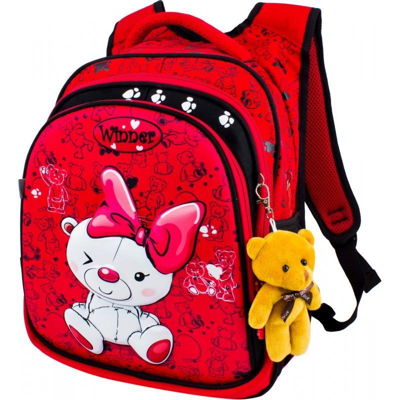 0591cc69989c Купить красный школьный Рюкзак Winner 8019 + мишка в официальном ...